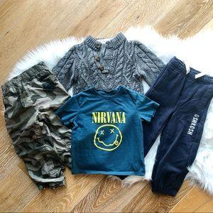 3/$30 OSH KOSH Camo Pant CANADIANA Sweater Nirvana